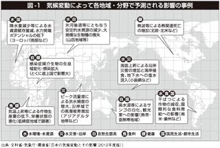 図1 気候変動によって各地域・分野で予測される影響の事例