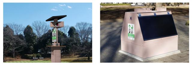 ソーラーフロンティア提案の蓄電池付自立型「ソーラースタンド」、府