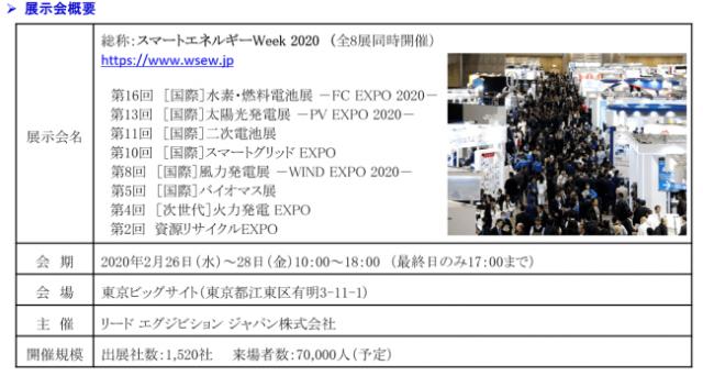 2月26日開幕 スマートエネルギーWeek 2020