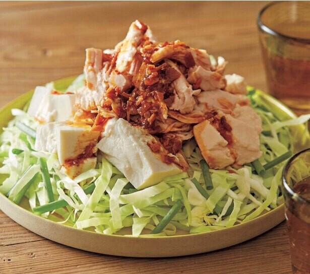 お肉たっぷりのっけサラダ【やみつきキャベツ&白菜サラダ】