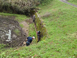 2~30 年放置されていた用水路整備。用水路の欠損、不法投棄処理、草刈り等、元に戻るまで数ヶ月要した