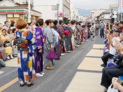 秩父織物フェスティバルでの着物ショー