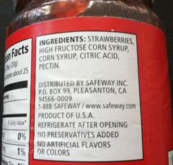 ジャムにもHigh Fructose Corn Syrup が使用されている