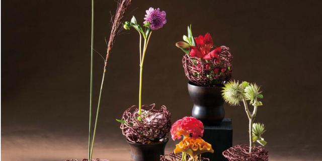 透けるほどに薄い漆器に秋の花を